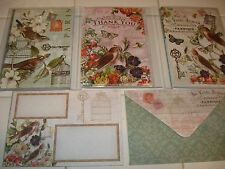 PUNCH STUDIO~ BIRDS ~ PARIS ~BLANK NOTE & THANK YOU CARDS~12 ~  GORGEOUS