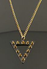 Gold Black Punk Spikes Geometric Costume Jewellery Necklace