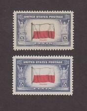 US,909,ERROR DOUBLE BLACK IMPRESSION ON FLAG,POLAND,MNH