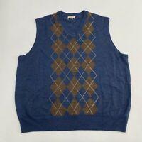 Dockers Sweater Vest Men's 2XL XXL Sleeveless Blue Argyle V Neck Waffle-Knit