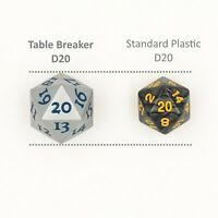Silver D20 Metal Extra Large Count down Spindown Dice MTG Magic Life Counter 20