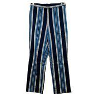 Lauren Ralph Lauren Blue White Wide Leg Pants Palazzo Size 4 Striped Side Zip