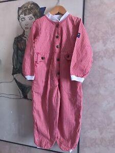Rare Vintage OshKosh Red White Denim Jumpsuit Boilersuit Suit Kids Toddlers Sz 3