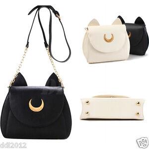 Women Sailor Moon Shoulder Bag Cosplay Handbag Messenger Luna Cat Ear Chain Tote