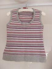 Next Tank Top Soft Cotton Size S 8 10 Pink Grey White Heart & Zig-Zag Pattern