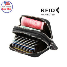 Men Wallet Genuine Leather ID Credit Card Holder RFID Blocking Zipper Purse US