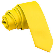 """New Polyester Men's 2.5"""" skinny Neck Tie only solid formal wedding prom yellow"""