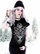 T-Shirt Shirt Top Restyle Galaxy Cat Nugoth Witchy Pagan Okkult Katze Mond Hexe