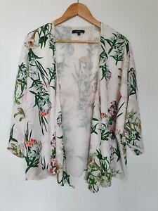 PIPER MYER Floral Kimono 3/4 Sleeve Top Open Jacket Sz 12 EUC