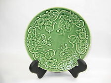 """Bordallo Pinheiro Flowers Green Leaves Textured 8"""" Dish Plate Buy More Save More"""