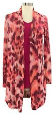 Susan Graver Size XS Women's Pink Printed Mesh Cardigan with Tank