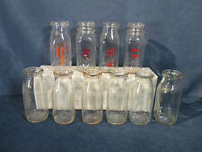 Milk Bottles Half Pint Vintage Dairy Bickley Itasca Island Farm Kangas Lot of 10
