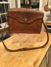 "Vintage Large Hand Tooled Leather Bag Red Leather Lined Long Strap 12.5""x9.5"""
