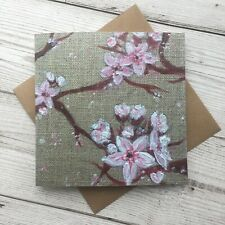 Cherry Blossom Greetings Card Blank Note Japanese Inspired Flowers Pink