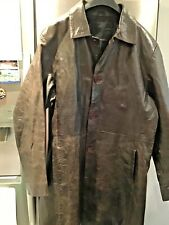 Gents Bertoni Brown Leather Trench/Rain Coat Style Size Large used