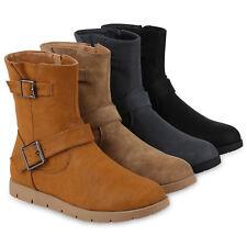 Damen Biker Boots Warm Gefütterte Stiefeletten WildStiefel 818949 Schuhe