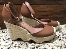 BCBG Max Azria Camel Brown Closed Toe Wedge Ankle Strap Shoes Sz 9 39 Espadrille