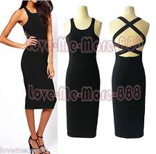 Solid Celebrity Club Party Casual Work Stretch Slim Fit Bodycon Midi Dress (M)