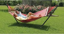 Hammock Bed With Stand 2 Person Swing Outdoor Patio Furniture For Two Red New