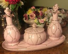 Vintage Pink Vanity Set Perfume Bottles Powder Box Jar Princess Dressing Table