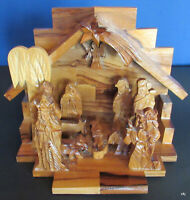 Holy Land Jerusalem Olive Wood Nativity Scene Stable & Figurines Handcrafted