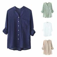 Women Cotton Linen Blouse Long Sleeve Tops Casual Sheer Button Down Shirt Loose