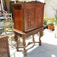 WALNUT CUPBOARD Antique CARVED WOOD BAR CABINET American Revival ITALIAN BAROQUE
