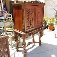 WALNUT CUPBOARD Antique CARVED WOOD BAR CABINET American Revival ITALIAN BAROQUE