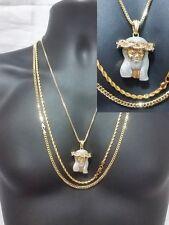 Jesus Piece Gold Silver Pendant Hip Hop Iced Out 3 Pc Necklace Set Cuban Chain