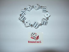 NEW HAND MADE WHITE DICE BRACELET WITH BLACK PIPS FREE SHIPPING