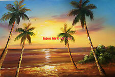 "12x16""100% hand painted oil flat , Ocean , Beach , Boat , palm tree , Dawn"