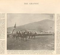 1899 ANTIQUE PRINT - BOER WAR-SIR F FORESTIER WALKER REVIEWING CAPE VOLUNTEERS
