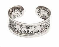 Beautiful 20mm Chunky 925 Sterling Silver Elephant Open Cuff Bangle Bracelet