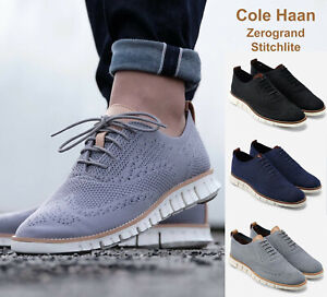 Men Cole Haan Zerogrand Stitchlite Wingtip Oxford Shoes Knit Upper NEW
