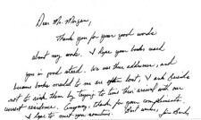 James Lee Burke- Signed Handwritten Note
