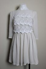 Topshop Floral Lace Overlay Chiffon Womens Flare Dress Size 2 Beige