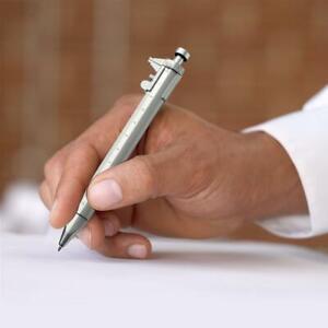 New Multi Function 0.5mm Pen Shape Plastic Vernier Caliper Ruler Measuring Write