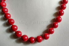 12MM red coral Round Beads necklace 18 inch magnet clasp