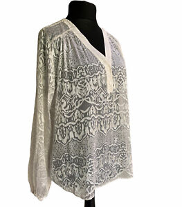 Hush Blouse Top Size 16 Ivory White Sheer Devore Boxy Long Sleeve Party Casual