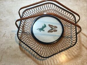 Vintage Bamboo Basket With Handles Butterfly Design Use/Display VGC!