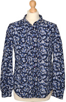 Jack Wills Floral Blue Shirt Blouse Size 12. Long Sleeves 100% Cotton.