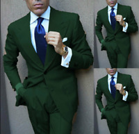 Green Business Men Suit Groomsman Wedding Tuxedos Prom Tailored Work Wear Formal