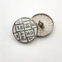 """MINT!!!! Chanel Ivory White Enamel CC Logo Silver Tone Metal Button 5/8"""""""