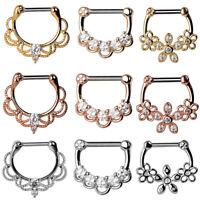 1PC Clear CZ Stainless Steel Septum Clicker Nose Ear Ring Hoop Nose Piercing