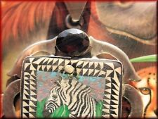 with Genuine Garnet Gemstone Sterling Antique African Zebra Hand Painted Pendant