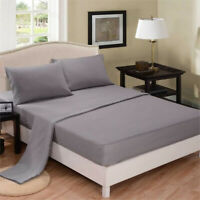 """New Fitted Sheet Flat Bed Sheets 100% Poly Cotton Deep Fitted 10""""/25 cm 4 sizes"""