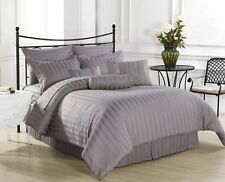 Duvet Set + Fitted Sheet Super King Silver / Light Gray Stripe 1000 Thread Count