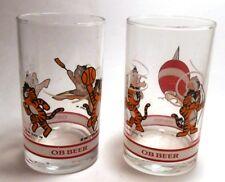 Seoul Olympics Mascot Hodori Tiger OB Beer Set of 2 Small Glasses 1983