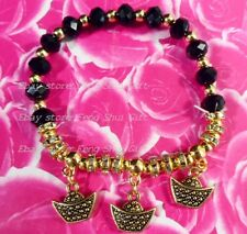 Feng Shui Chinese Good Luck Lucky Gold Ingot Bead Charm Bracelet Money Wealth #R