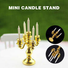 1/12 Miniature Gold Candelabra With 5 White Candles For Dollhouse Kitchen Decor